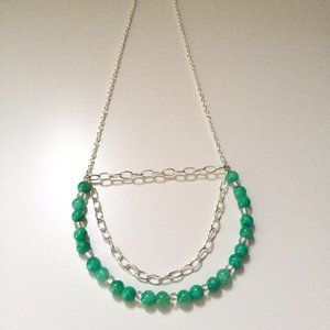 2 for $55 / Lt Green Turqoise Statement necklace